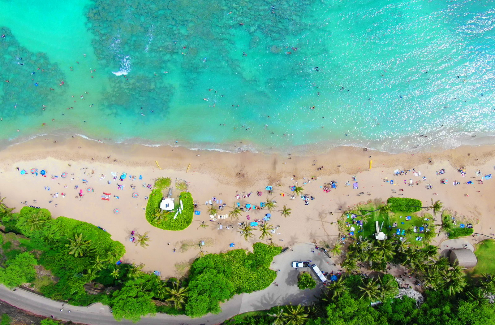 Aerial shot - Hanauma Bay Beach