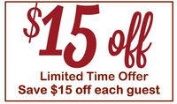 Save $15 off each guest